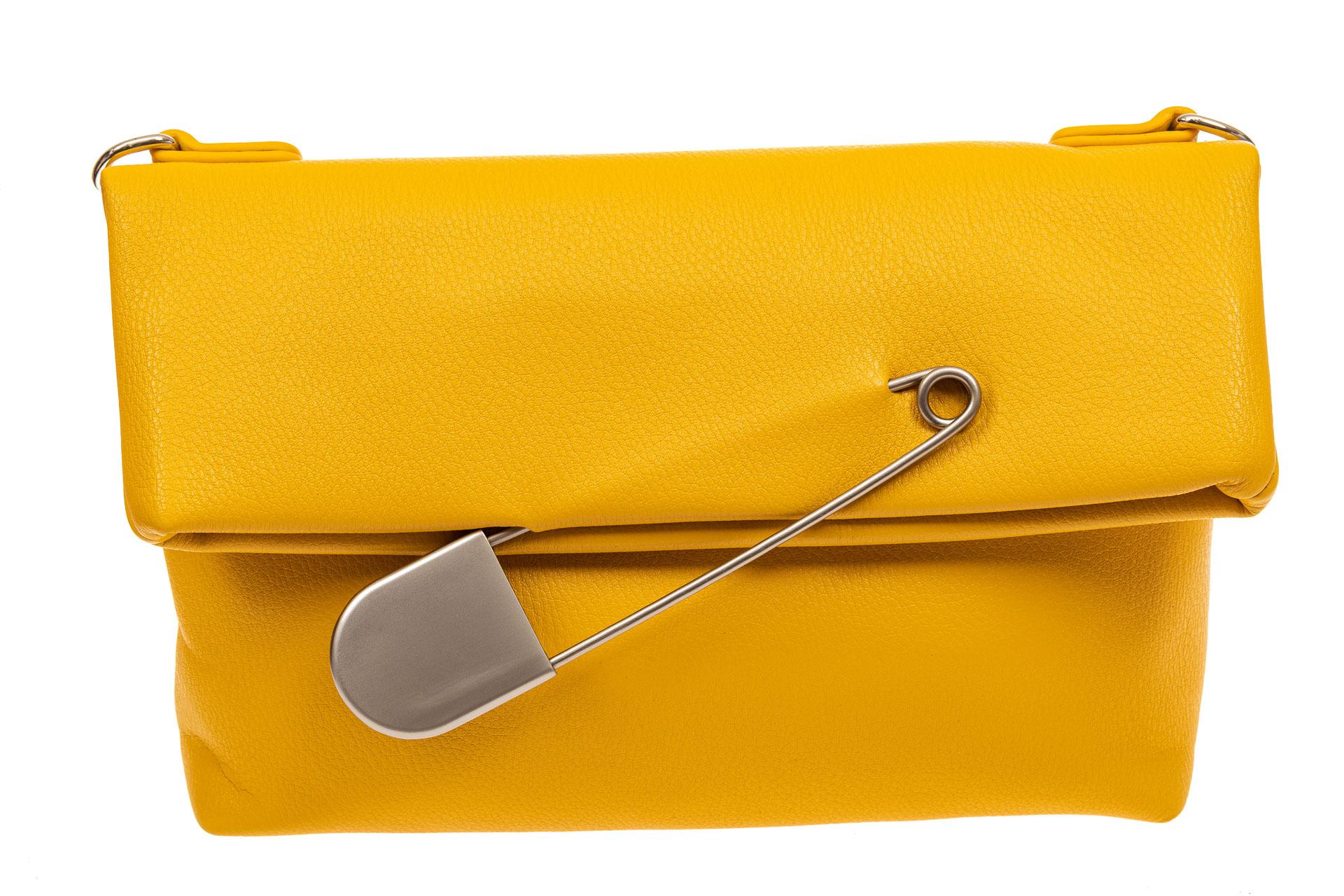 На фото 2 - Сумка-клатч женский из искусственной кожи, цвет желтый