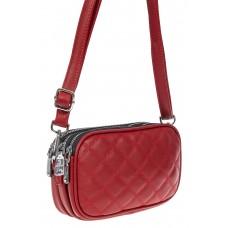 На фото 1 - Женская стёганая сумочка из экокожи, цвет красный