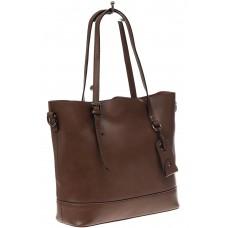На фото 1 - Классический шоппер из натуральной кожи, цвет коричневый