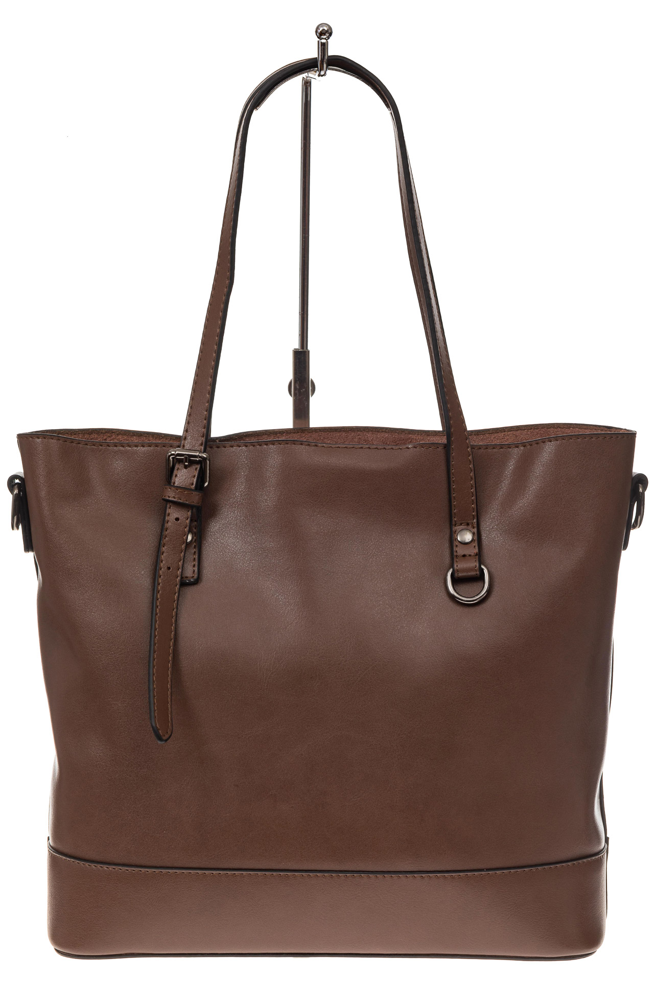На фото 3 - Классический шоппер из натуральной кожи, цвет коричневый