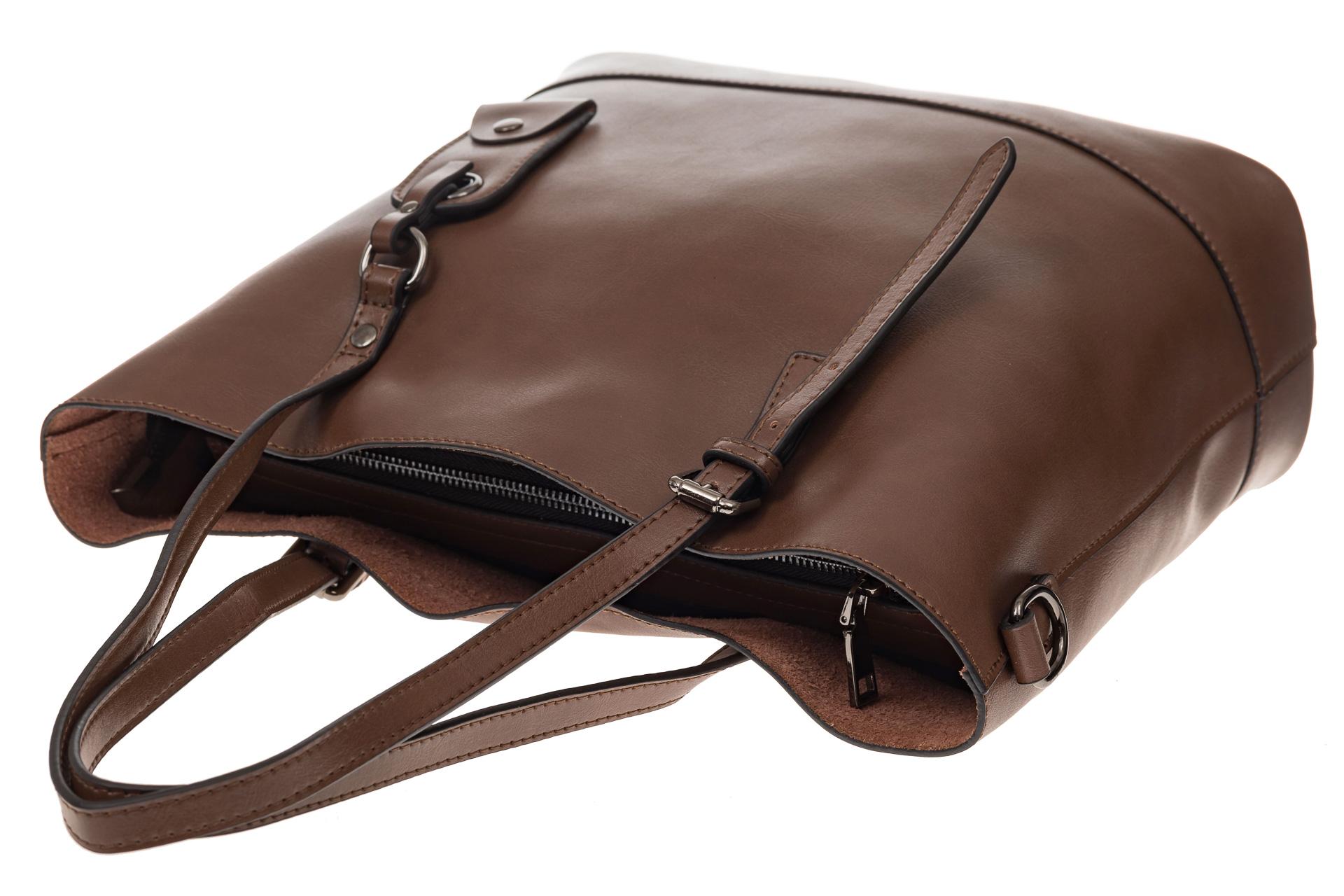 На фото 4 - Классический шоппер из натуральной кожи, цвет коричневый