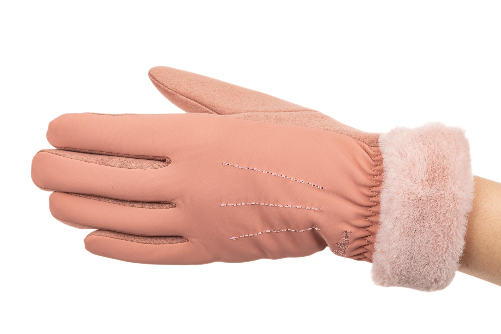 На фото 1 - Комбинированные перчатки женские на холода, цвет розовый