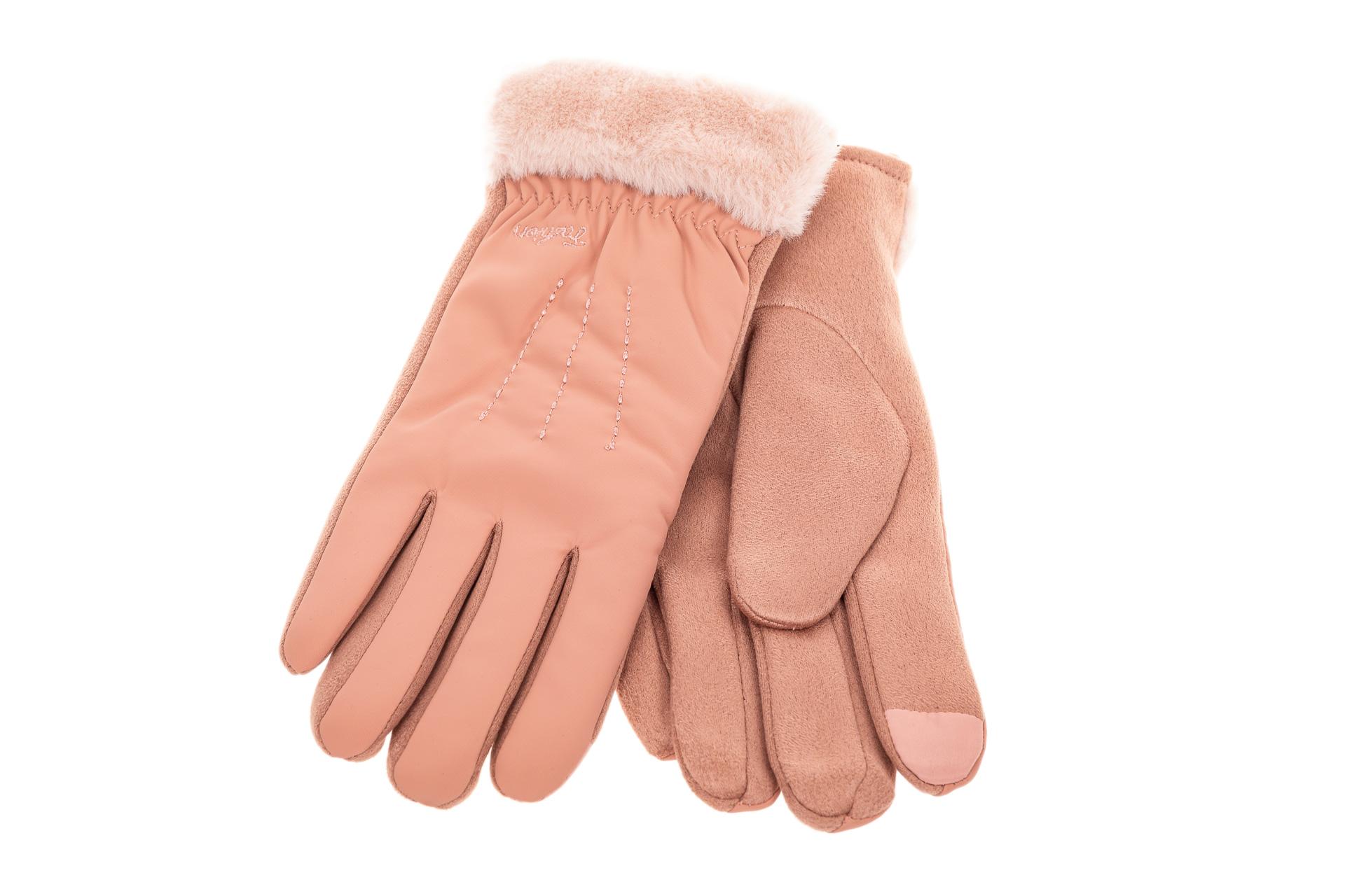 На фото 2 - Комбинированные перчатки женские на холода, цвет розовый