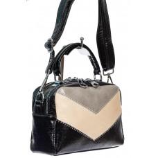 На фото 1 - Женская сумка кросс-боди из искусственной кожи, цвет чёрный с серым и молочным