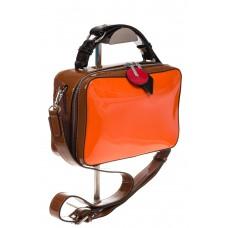 Лаковая кросс-боди, цвет оранжевая с коричневым 9003 для оптовых закупок