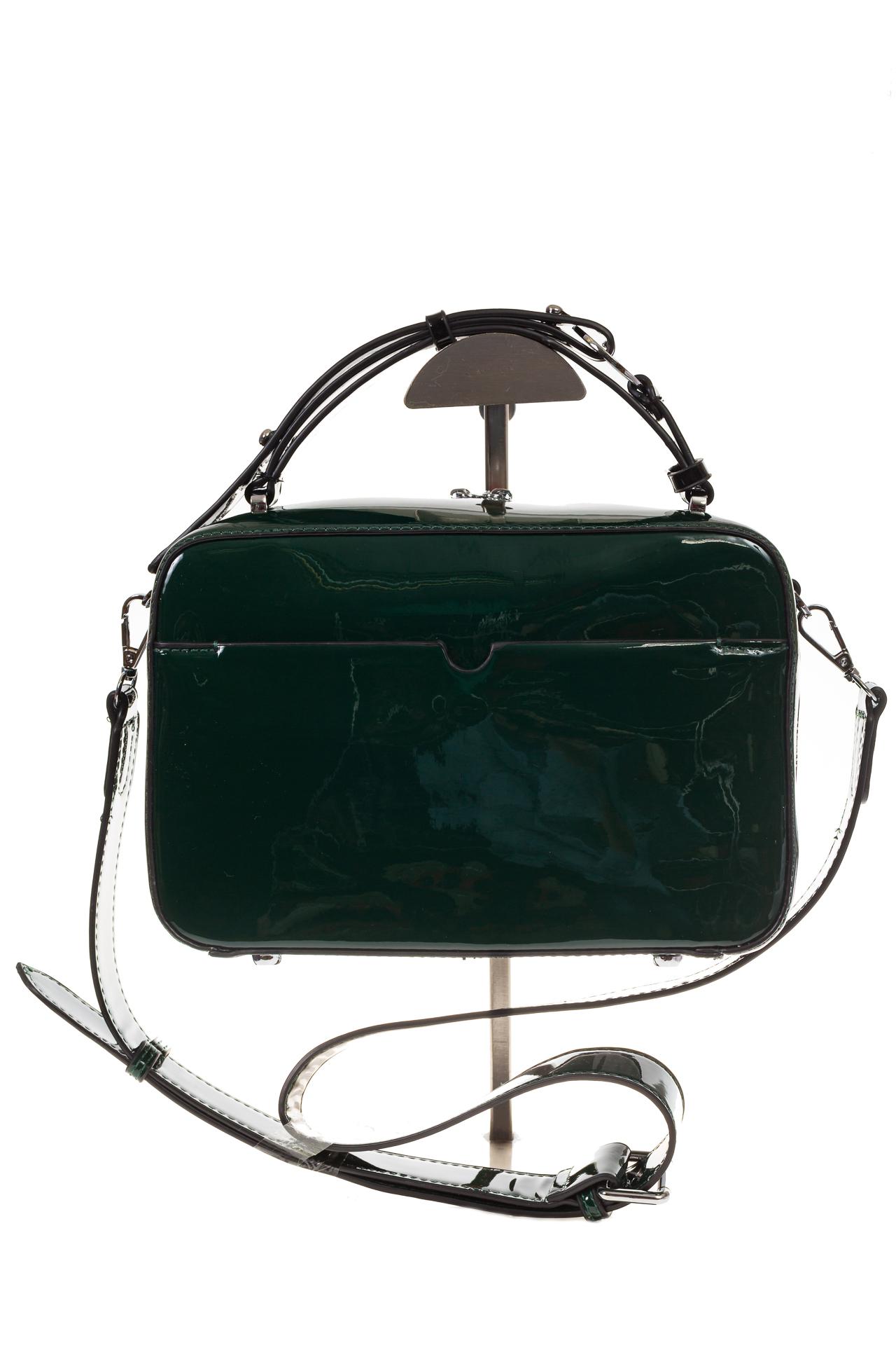 На фото 3 - Лаковая кросс-боди, цвет коричневый с черным 9003