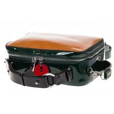 На фото 4 - Лаковая кросс-боди, цвет коричневый с черным 9003