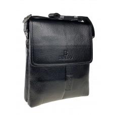 На фото 1 - Сумка-планшет для мужчин из фактурной экокожи, цвет чёрный