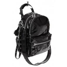 На фото 1 - Мини-рюкзак из искусственной кожи, цвет чер...