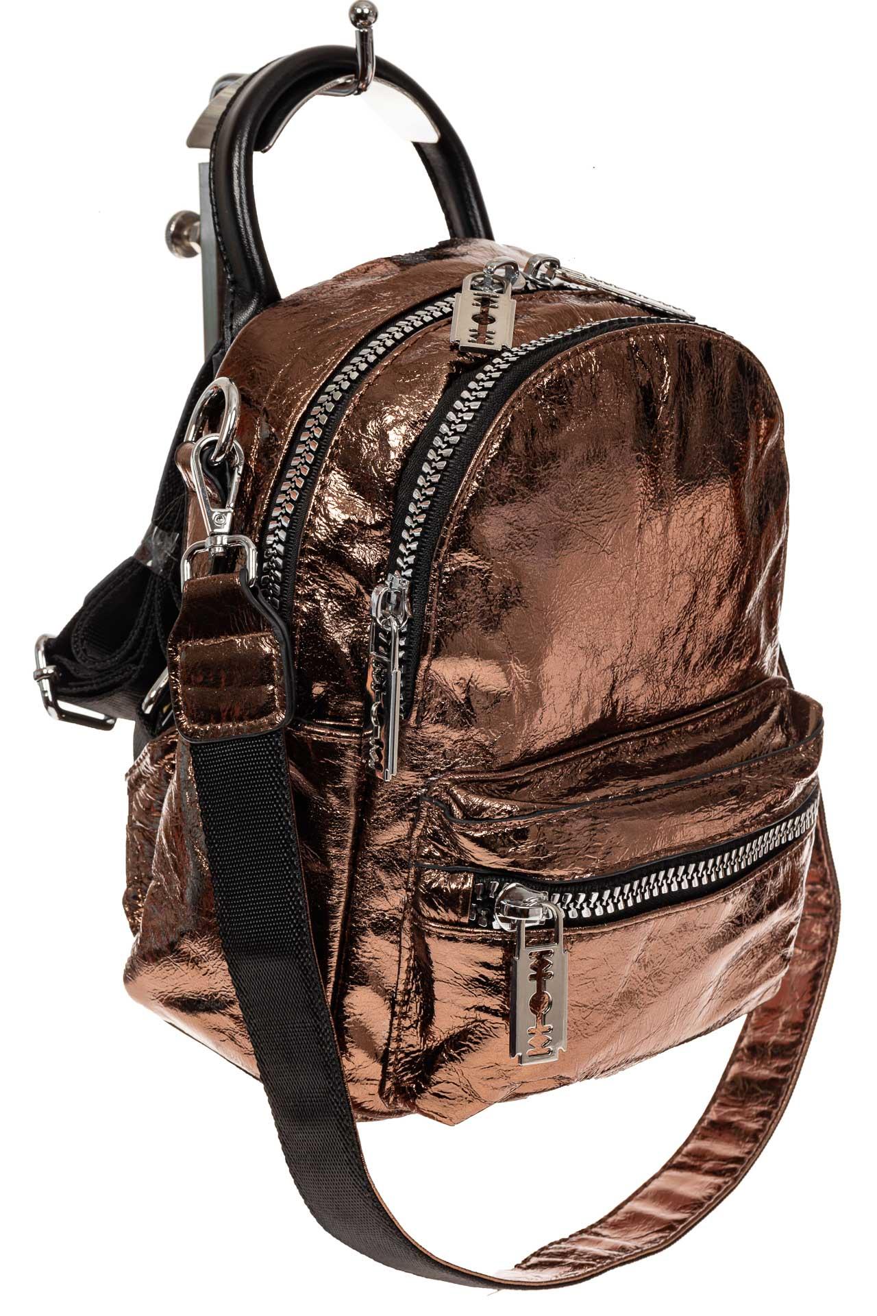 На фото 1 - Мини-рюкзак из искусственной кожи, цвет бронза