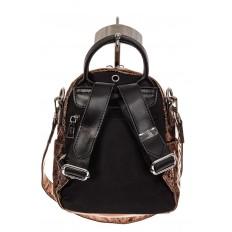 На фото 2 - Мини-рюкзак из искусственной кожи, цвет бронза