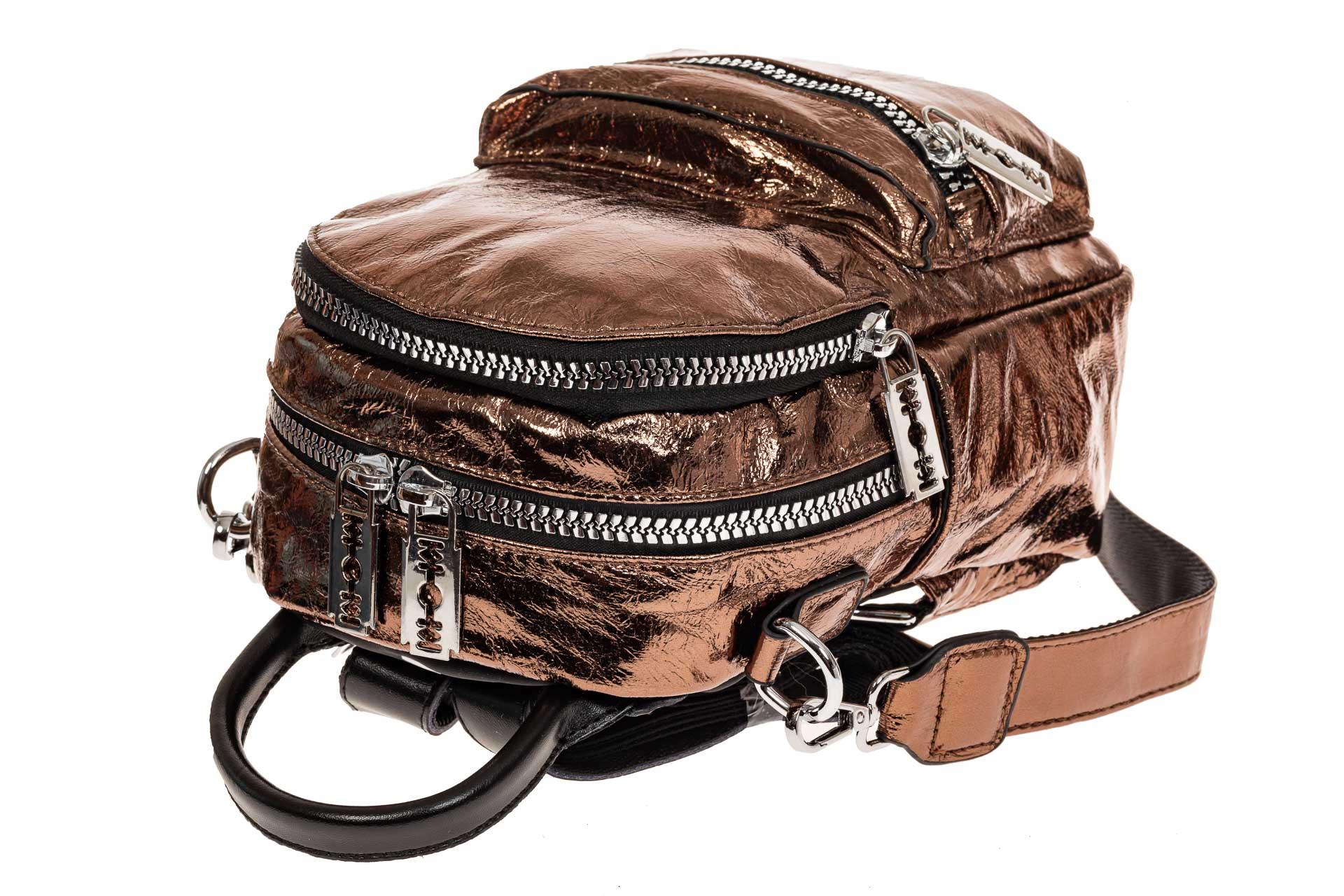 На фото 3 - Мини-рюкзак из искусственной кожи, цвет бронза