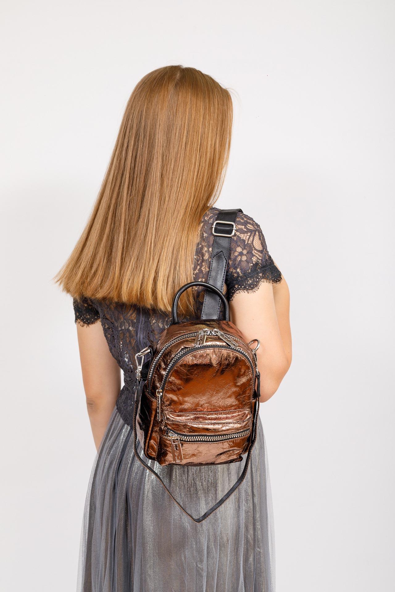 На фото 4 - Мини-рюкзак из искусственной кожи, цвет бронза