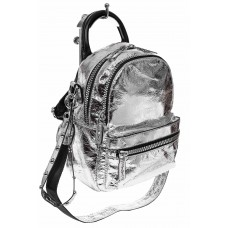 На фото 1 - Мини-рюкзак из искусственной кожи, цвет сер...