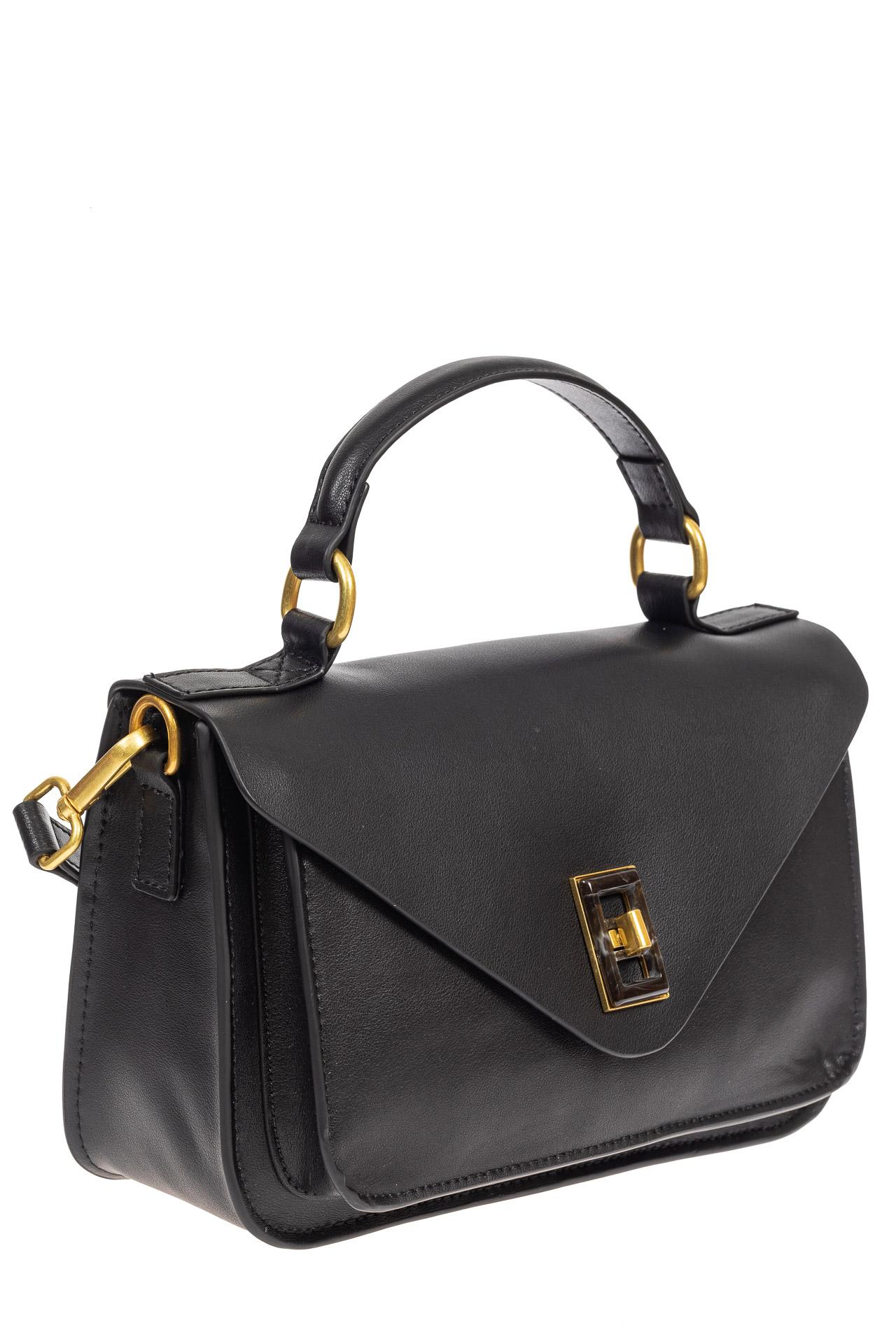 На фото 1 - Женская сумка-почтальонка из натуральной кожи, цвет чёрный
