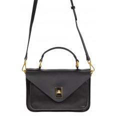 На фото 2 - Женская сумка-почтальонка из натуральной кожи, цвет чёрный