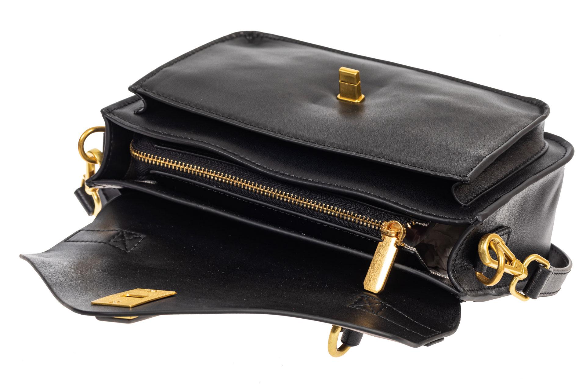 На фото 4 - Женская сумка-почтальонка из натуральной кожи, цвет чёрный