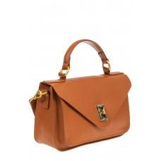 На фото 1 - Женская сумка-почтальонка из натуральной кожи, цвет рыжий
