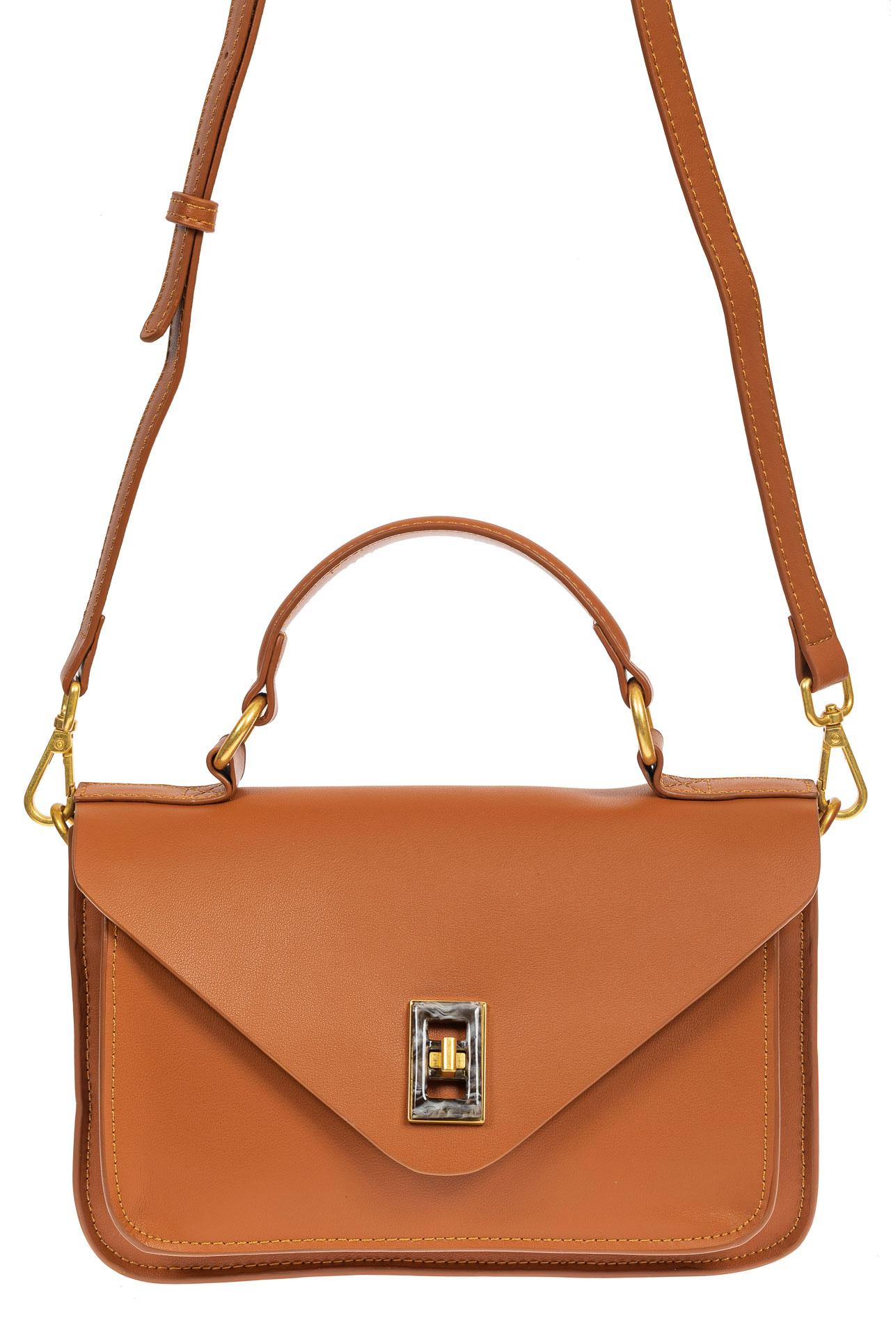 На фото 2 - Женская сумка-почтальонка из натуральной кожи, цвет рыжий