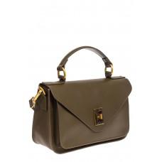 На фото 1 - Женская сумка-почтальонка из натуральной кожи, цвет хаки