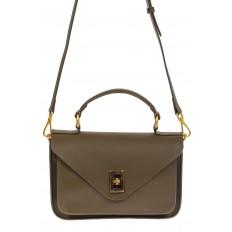 На фото 2 - Женская сумка-почтальонка из натуральной кожи, цвет хаки