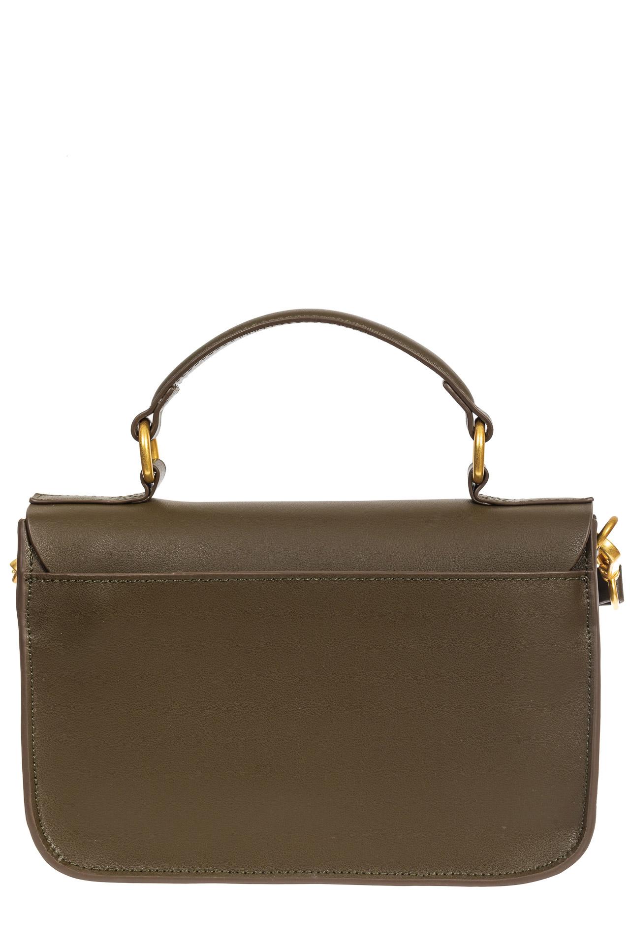 На фото 3 - Женская сумка-почтальонка из натуральной кожи, цвет хаки