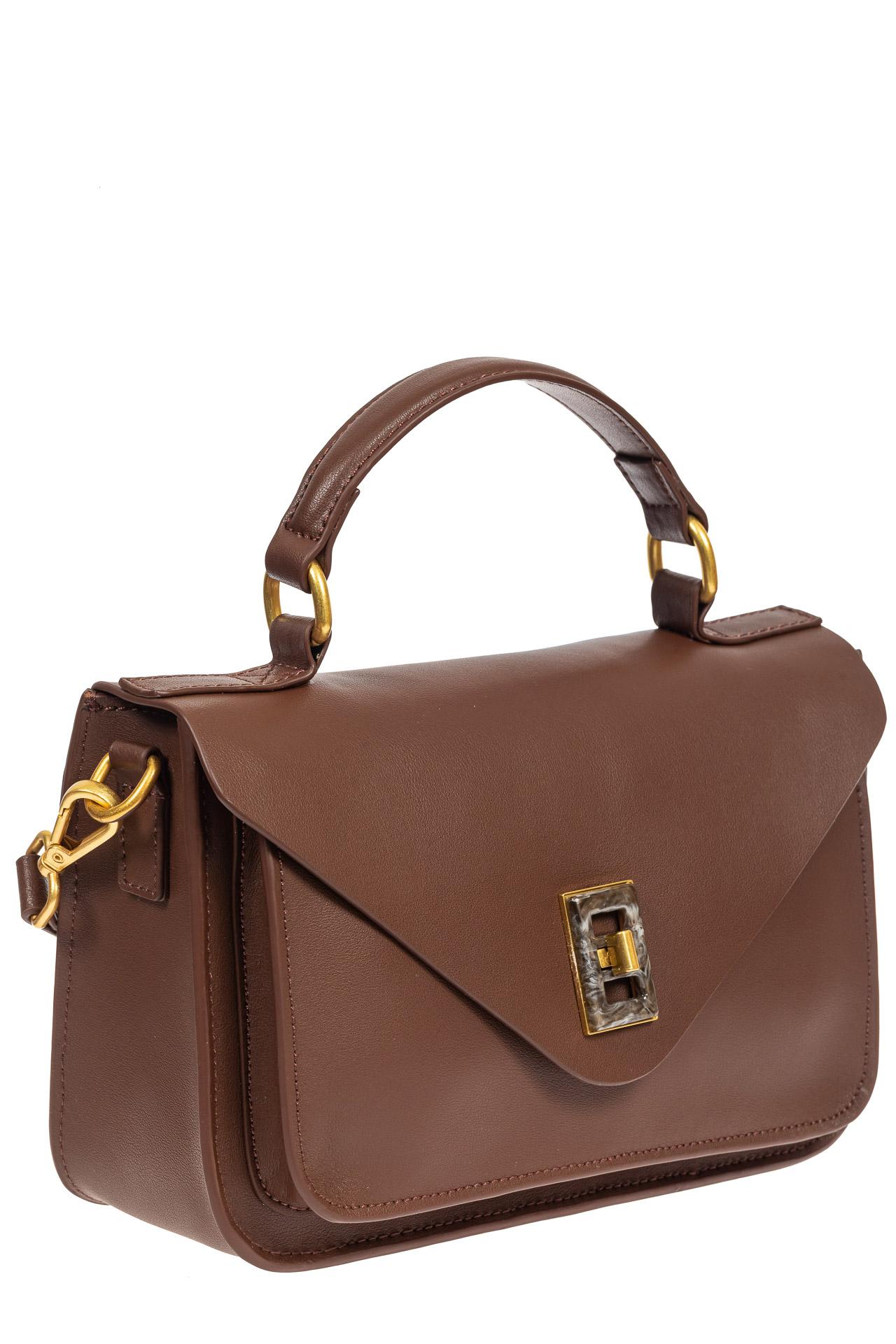 На фото 1 - Женская сумка-почтальонка из натуральной кожи, цвет коричневый