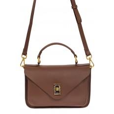 На фото 2 - Женская сумка-почтальонка из натуральной кожи, цвет коричневый