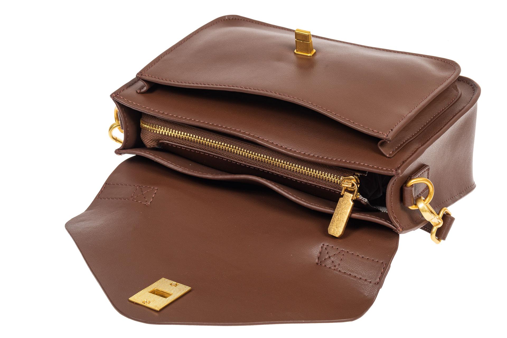 На фото 4 - Женская сумка-почтальонка из натуральной кожи, цвет коричневый