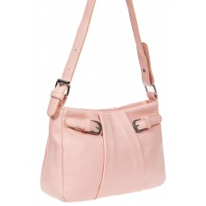 На фото 1 - Летняя женская сумка из мягкой искусственной кожи, цвет розовый