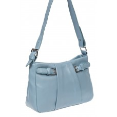 На фото 1 - Летняя женская сумка из мягкой искусственной кожи, цвет светло-голубой
