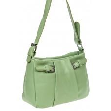На фото 1 - Летняя женская сумка из мягкой искусственной кожи, цвет светло-зелёный