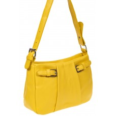 На фото 1 - Летняя женская сумка из мягкой искусственной кожи, цвет жёлтый