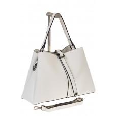 на фото Мягкая сумка-трапеция из искусственной кожи белого цвета 9013MJ5