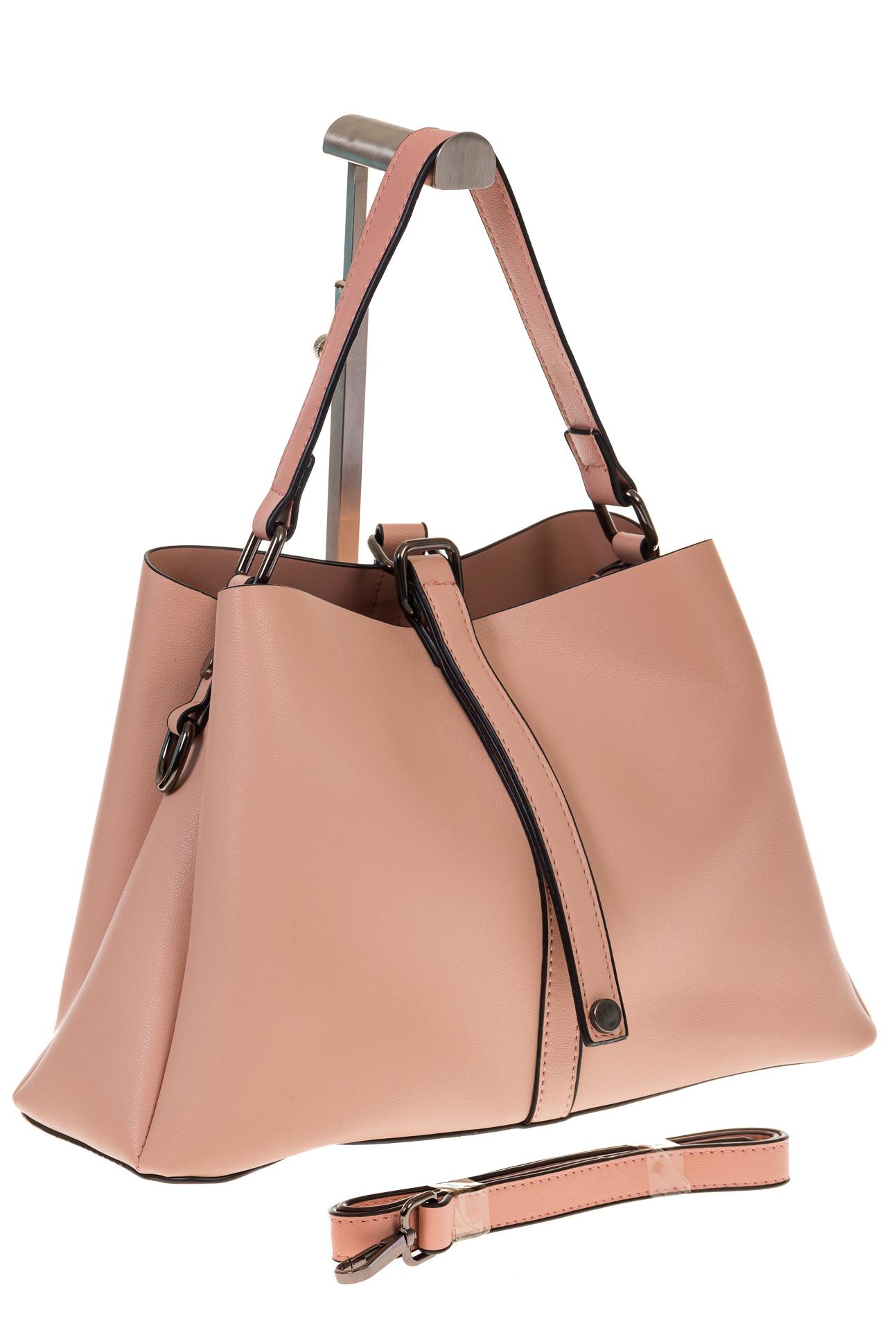 на фото Мягкая сумка-трапеция из искусственной кожи розового цвета 9013MJ5 5c0ebca7e97