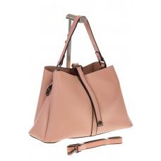 на фото Мягкая сумка-трапеция из искусственной кожи розового цвета 9013MJ5