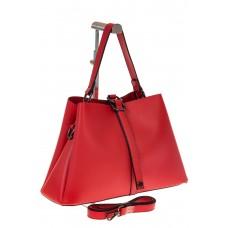 на фото Мягкая сумка-трапеция из искусственной кожи красного цвета 9013MJ5