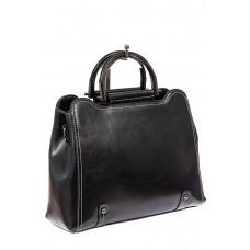 На фото 1 - Красивая женская сумка из натуральной кожи, цвет черный