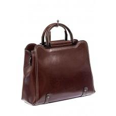 На фото 1 - Красивая женская сумка из натуральной кожи, цвет шоколад