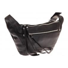 На фото 1 - Поясная женская сумка из натуральной кожи, цвет черный