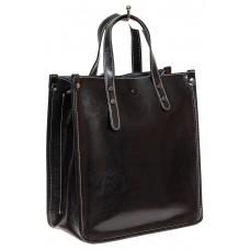 На фото 1 - Небольшой кожаный шоппер, цвет чёрный