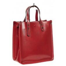 На фото 1 - Небольшой кожаный шоппер, цвет красного вина