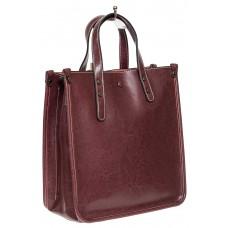 На фото 1 - Небольшой кожаный шоппер, бордовый