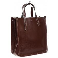 На фото 1 - Небольшой кожаный шоппер, цвет шоколад