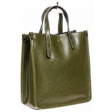 На фото 1 - Небольшой кожаный шоппер, цвет оливковый