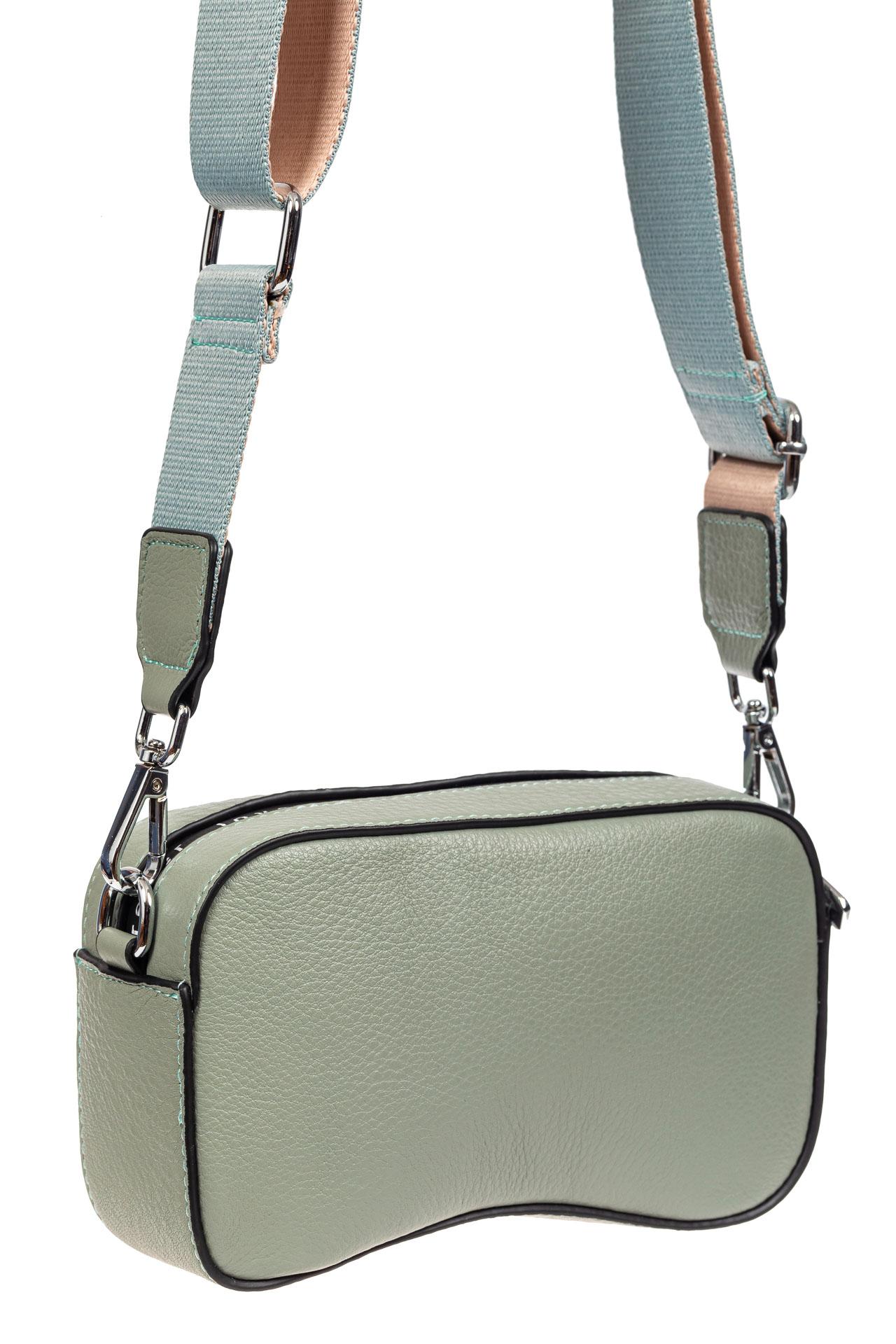 Маленькая наплечная сумка из кожи, цвет серо-голубой9026NK0420/11