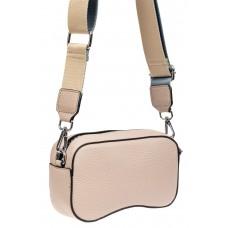 На фото 1 - Маленькая наплечная сумка из кожи, цвет розовый