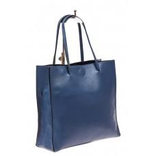 На фото 1 - Женская сумка-мешок из натуральной кожи, цвет голубой
