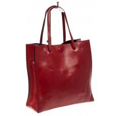 На фото 1 - Женская сумка-мешок из натуральной кожи, цвет красный
