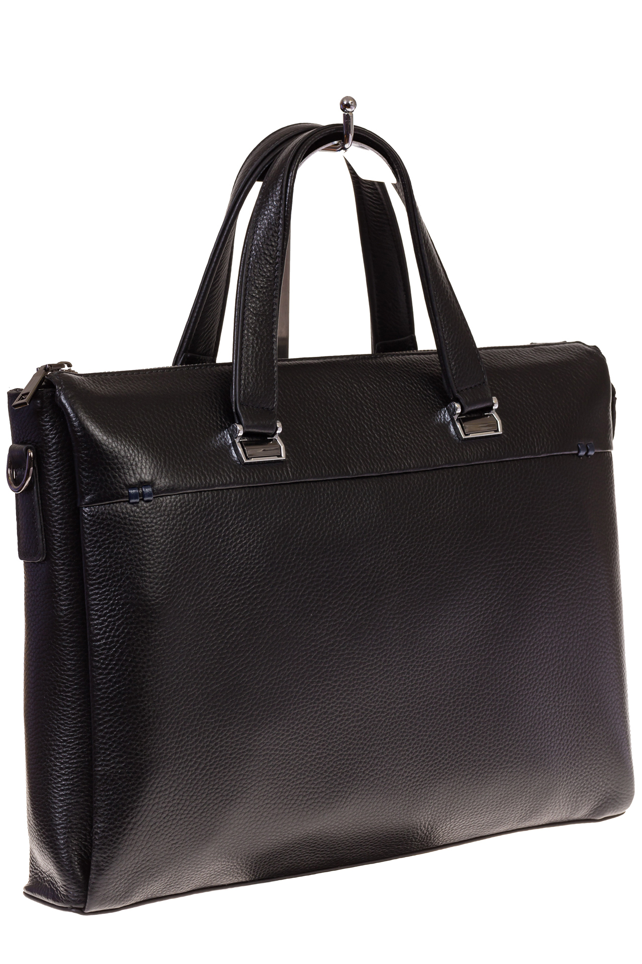 На фото черный мужской портфель из текстурной натуральной кожи, оптом